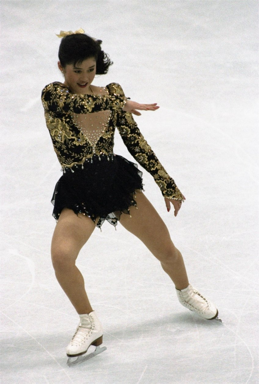 FILE - In this Feb. 21, 1992, file photo, Kristi Yamaguchi competes in the free skating portion of the women's figure skating competition at the XVI Winter Olympic Games in Albertville, France. When Ice Theatre of New York honors Kristi Yamaguchi on Oct. 15, 2018, it will be for a whole lot more than her performances as a figure skater. Her on-ice resume is superb, of course, including the 1992 Albertville Olympic championship, followed by a starring role in the highly successful Stars on Ice tour. Her work away from the rink has been exemplary, particularly Yamaguchi's Always Dream Foundation that for the past seven years has fought child illiteracy. (AP Photo/Lionel Cironneau, File)
