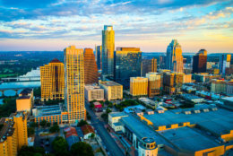Austin Texas drone Sunrise view of the amazing capital City - The Capital City of the Lone Star State Aerial Perfect view of Austin Texas
