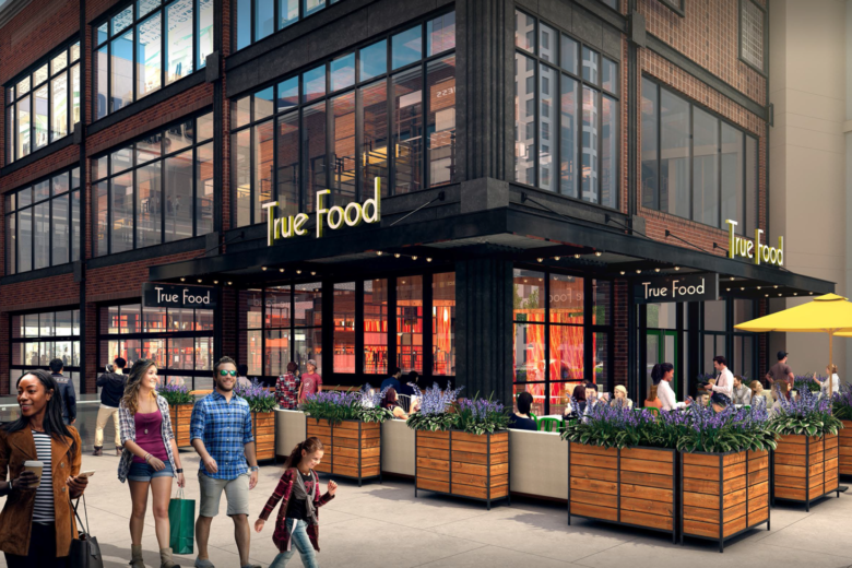 the 7100 square foot ballston common location will have a covered outdoor patio and two private dining rooms in addition to its main dining area - True Food Kitchen Mosaic