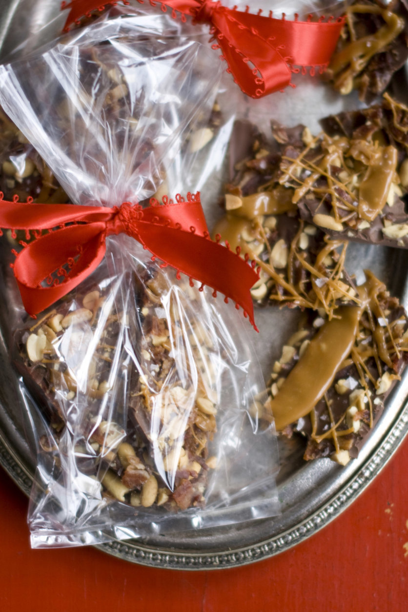 This Oct. 26, 2011 photo shows caramel bacon peanut bark in Concord, N.H. This bark can be broken into chunks and packaged in plastic bags or candy boxes for gifts.     (AP Photo/Matthew Mead)