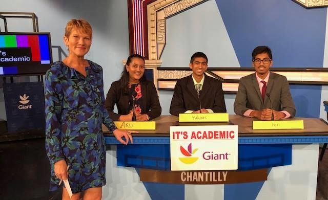 """On """"It's Academic,"""" Chantilly High School competes against Sandy Spring Friend and Woodgrove. The show aired Oct. 20, 2018. (Courtesy Facebook/It's Academic)"""