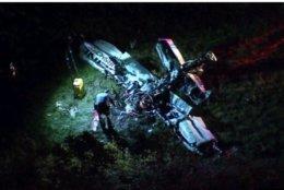 Virginia state police respond to a plane crash in Culpeper County, Virginia, on Friday, Oct. 12, 2018. (Courtesy NBC Washington)