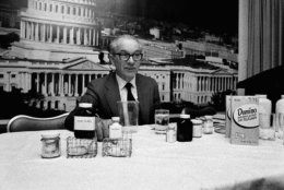 Michael Sveda, discover of cyclamates, expounds on their safety in Washington, D.C., on March 24, 1975. (AP Photo/JD)