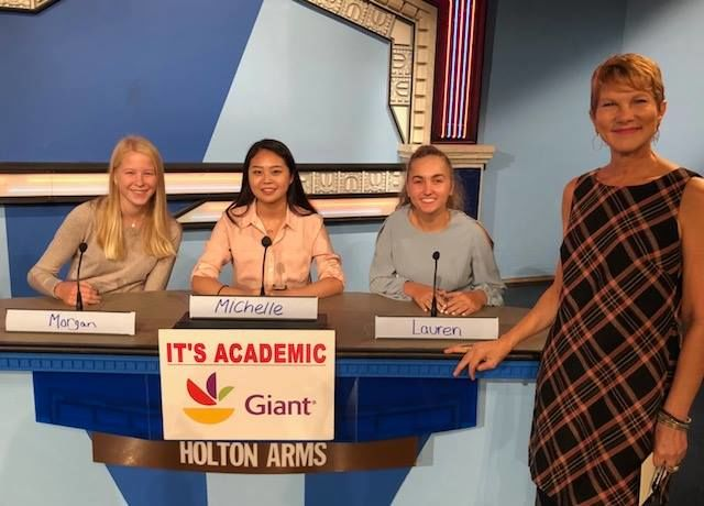 """On """"It's Academic,"""" Holton Arms competes against Langley and Einstein high schools. The show aired Nov. 3. (Courtesy Facebook/It's Academic)"""