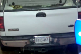A photo of the license plate on the vehicle suspected of stealing an ATM from a Metro station in Virginia. (Courtesy WMATA)