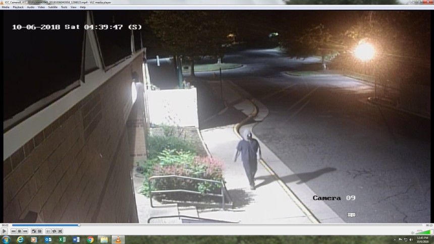 Surveillance video captured a suspect spray painting the Jewish Community Center of Northern Virginia around 4:30 a.m. Saturday. (Courtesy Fairfax County Police)