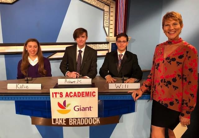 """On """"It's Academic,"""" Lake Braddock High School competes against Thomas Stone and Paint Branch high schools. The show aired Saturday, Nov. 17, 2018. (Courtesy Facebook/It's Academic)"""