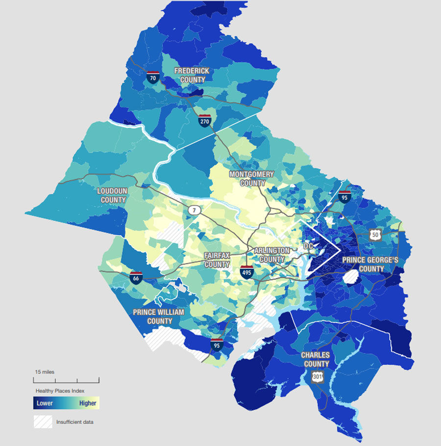 "The study mapped out parts of the D.C. area by ""healthy places index scores,"" which shows ""high opportunity for health and well-being"" in yellow and low opportunity of that in blue. (Credit: VCU Center on Society and Health)"