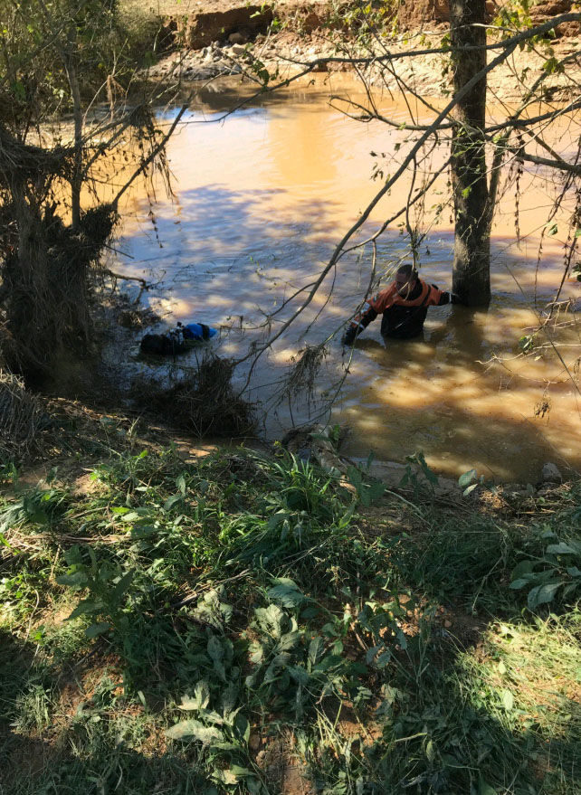 Virginia State police search for a woman who was swept away by flood waters from Tropical Storm Michael. (Courtesy Virginia State police)