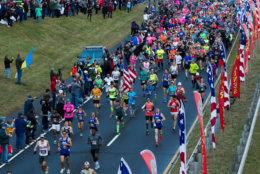 An overhead view of the start of the marathon. (AP Photo/Jose Luis Magana)