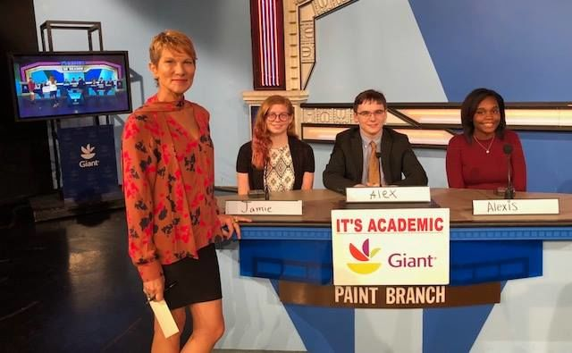 """On """"It's Academic,"""" Paint Branch High School competes against Thomas Stone and Lake Braddock high schools. The show aired Saturday, Nov. 17, 2018 (Courtesy Facebook/It's Academic)"""