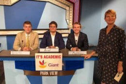 """On """"It's Academic,"""" Parkview competes against Banneker and Northwest high schools. The show aired Nov. 10, 2018. (Courtesy Facebook/It's Academic)"""