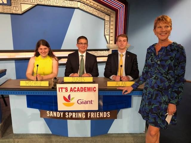 """On """"It's Academic,"""" Sandy Spring Friends competes against Woodgrove and Chantilly. The show aired Oct. 20, 2018. (Courtesy Facebook/It's Academic)"""