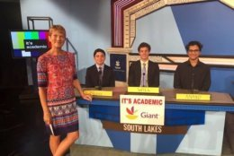 """On """"It's Academic,"""" South Lakes High School competes against Wheaton and Oakton. The show aired Oct. 6, 2018. (Courtesy Facebook/It's Academic)"""
