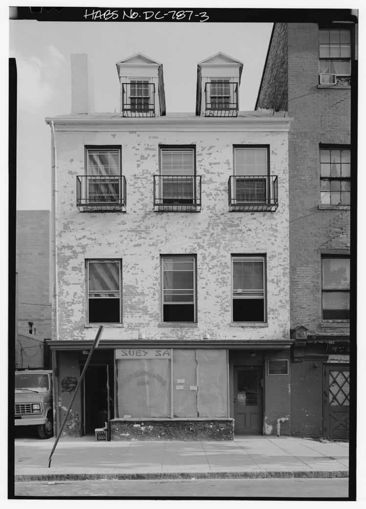 The front of the Surratt House during a Historic American Buildings Survey circa 1972. (Courtesy Library of Congress)