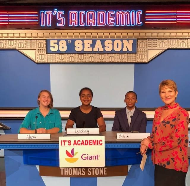 """On """"It's Academic,"""" Thomas Stone competes against Lake Braddock and Paint Branch high schools. The show aired Saturday, Nov. 17, 2018. (Courtesy Facebook/It's Academic)"""