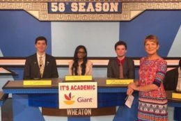 """On """"It's Academic,"""" Wheaton competes against Oakton and South Lakes. The show aired Oct. 6, 2018. (Courtesy Facebook/It's Academic)"""