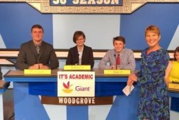 """On """"It's Academic,"""" Woodgrove competes against Sandy Spring Friends and Chantilly. The show aired Oct. 20, 2018. (Courtesy Facebook/It's Academic)"""