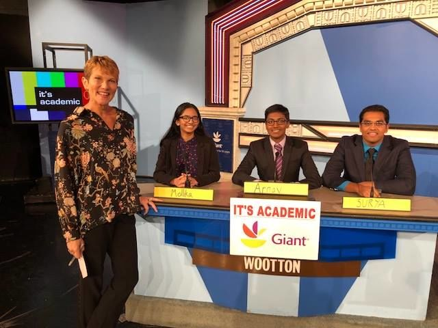 """On """"It's Academic,"""" Wootton competes against Osbourn Park and George Mason. The show aired Oct. 27, 2018. (Courtesy Facebook/It's Academic)"""