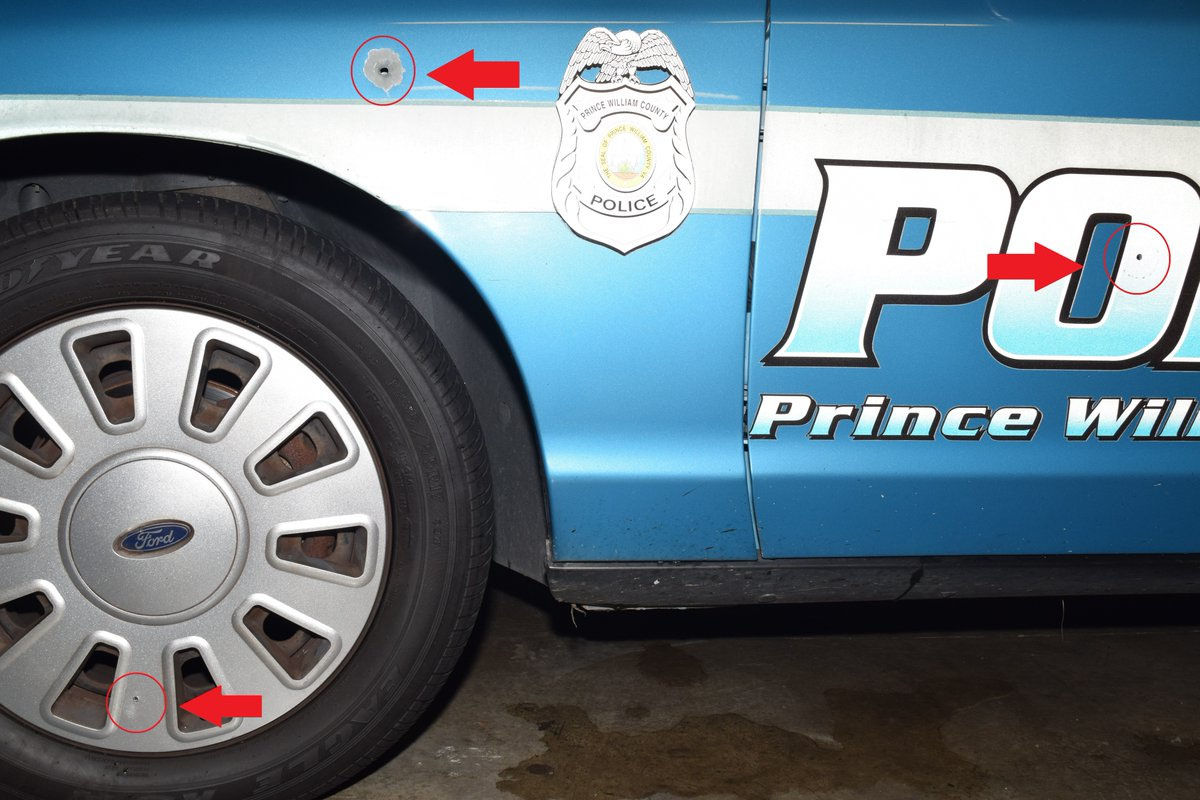 Prince William County police released photos of the cruiser struck by bullets after an officer-involved shooting Nov. 4. (Courtesy Prince William County police)