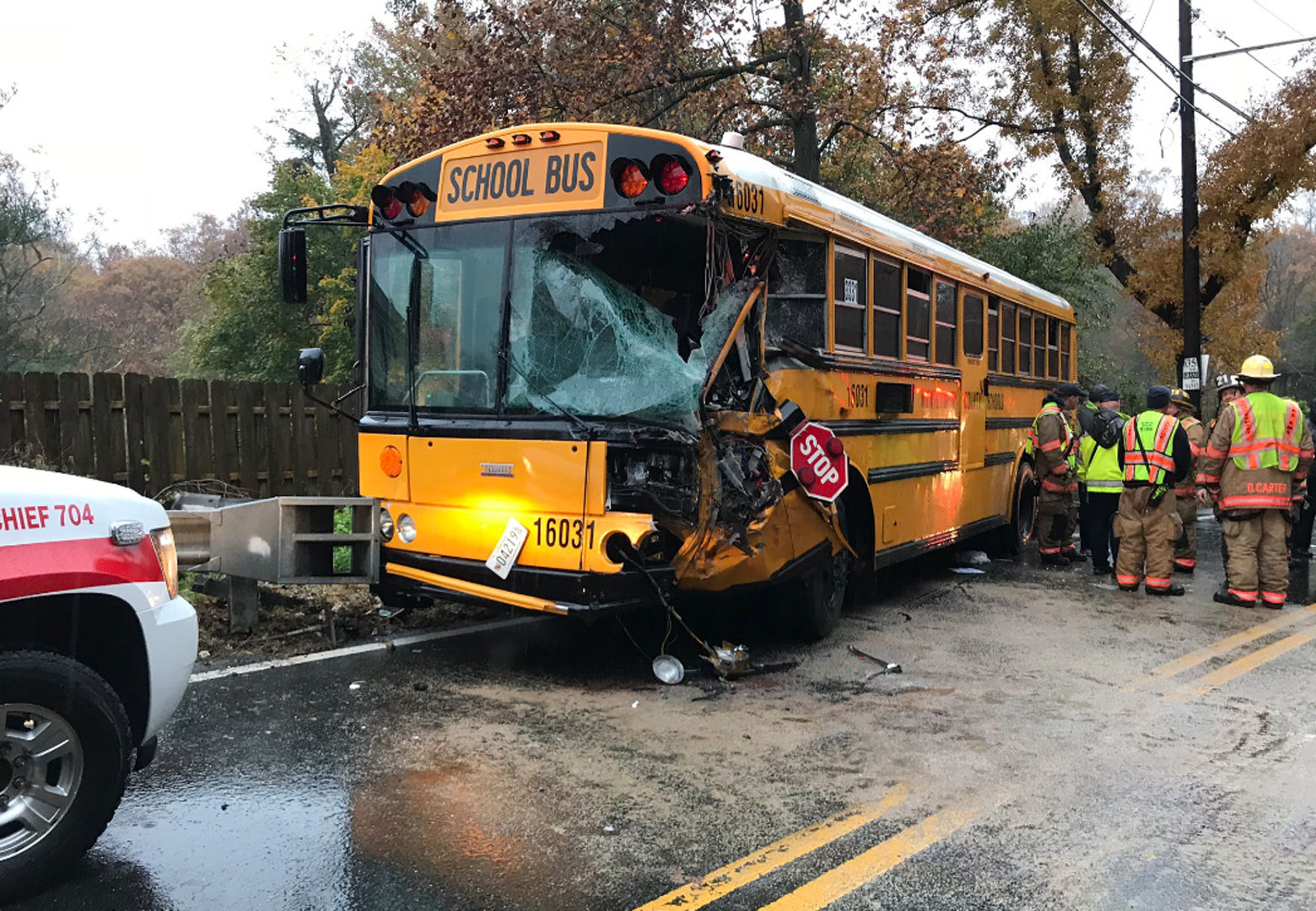 Multiple students were hurt when a bus collided with a trash truck Monday morning in Montgomery County. (Courtesy NBC4/Adam Tuss)