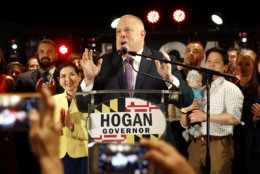 Maryland Gov. Larry Hogan delivers remarks at an election night party, Tuesday, Nov. 6, 2018, in Annapolis, Md. Hogan earned a second term after defeating Democratic opponent Ben Jealous. (AP Photo/Patrick Semansky)