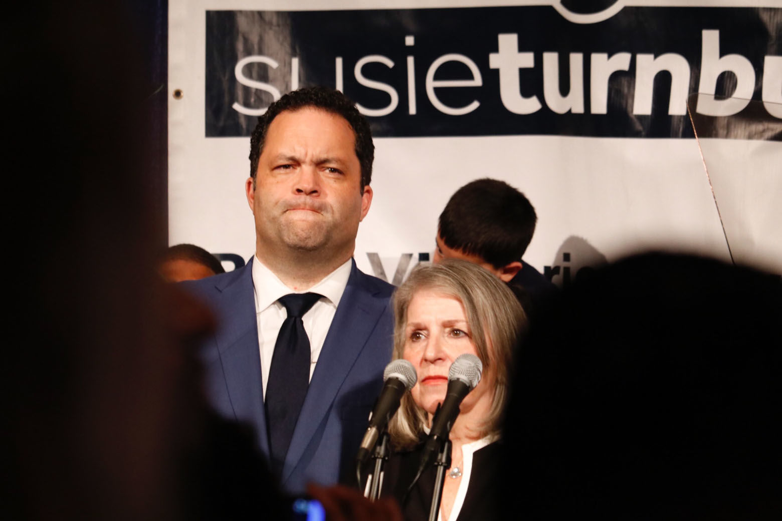 Ben Jealous and Susie Turnbull, his running mate, prepare to address supporters in Baltimore.  (WTOP/Ben Jealous)