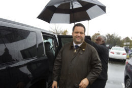 Maryland Democratic gubernatorial candidate Ben Jealous get in his car as he leaves after he stops by at John F. Kennedy High School polling place during the U.S. midterm election, Tuesday, Nov. 6, 2018, in Silver Spring, Md. (AP Photo/Jose Luis Magana)