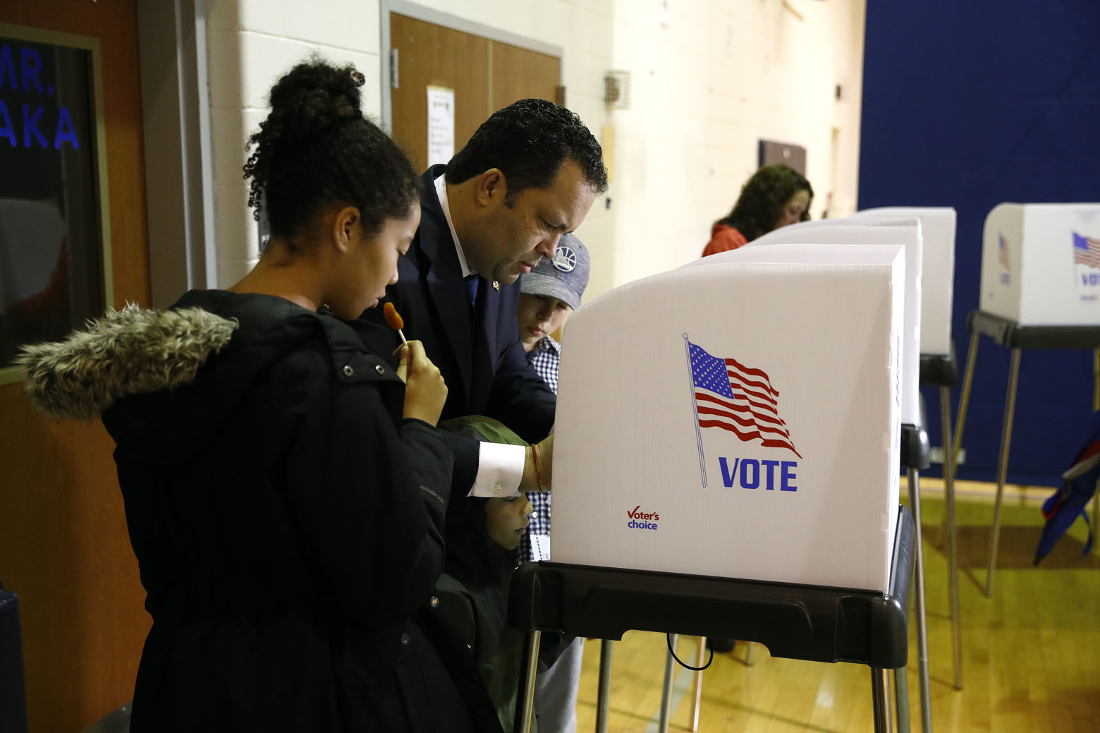 Maryland Democratic gubernatorial candidate Ben Jealous votes Tuesday, Nov. 6, 2018, at a polling place at Lake Shore Elementary School in Pasadena, Md. Jealous is running against incumbent Gov. Larry Hogan. (AP Photo/Patrick Semansky)