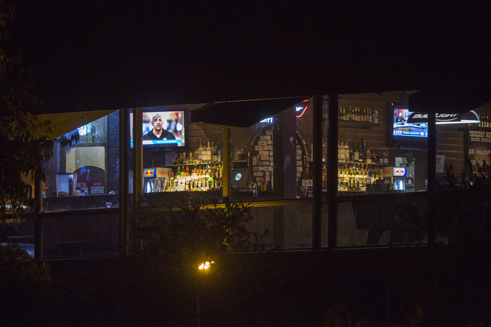 THOUSAND OAKS, CA - NOVEMBER 08:  Light shines from inside The Borderline Bar and Grill, the scene of a mass shooting on November 8, 2018 in Thousand Oaks, California. At least twelve  people have died, including a Ventura County Sheriffs Department sergeant, plus the gunman.  (Photo by David McNew/Getty Images)