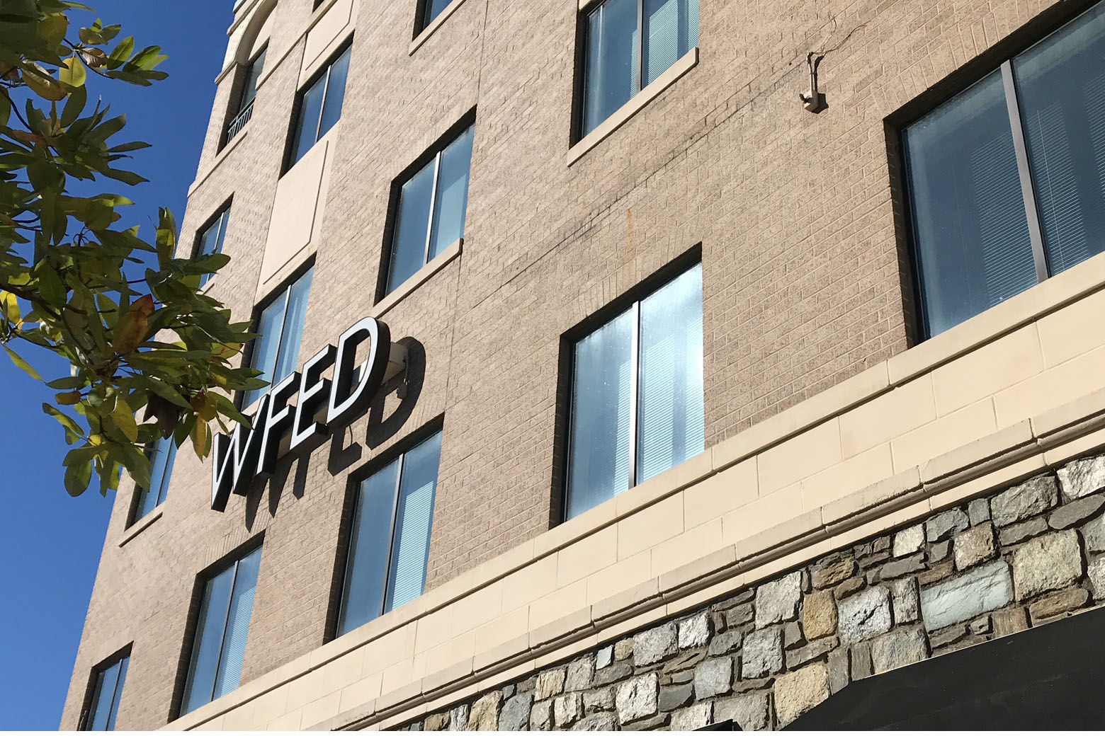 WTOP's current building after the removal of the station's call letters November 16, 2018. WTOP is moving its headquarters to Chevy Chase, Maryland, early next year. (WTOP/Ginger Whitaker)