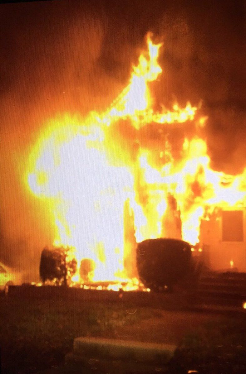 A fire raged at this Montgomery County home Wednesday motning. (Courtesy Montgomery County Fire & EMS)