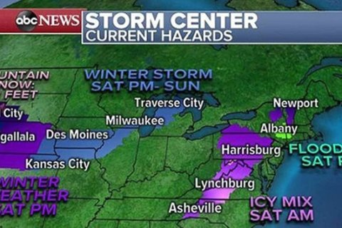 Twin storms bring hazardous travel conditions over holiday weekend