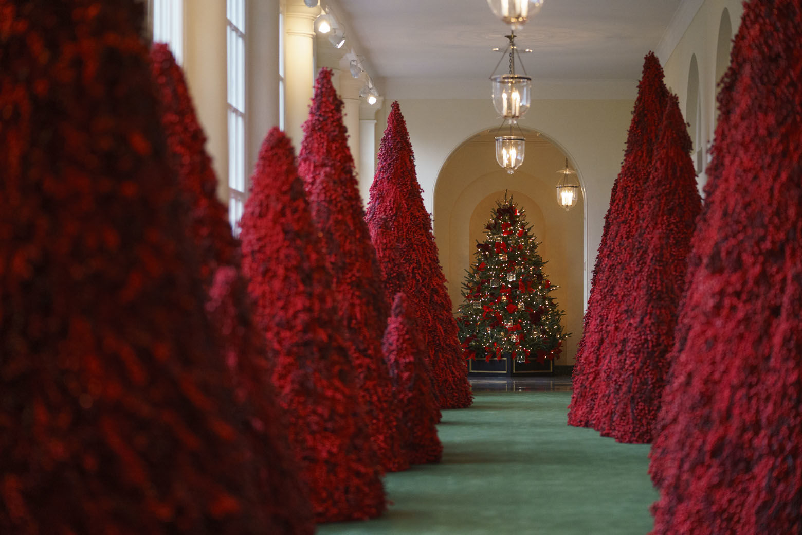 "Topiary trees line the East colonnade during the 2018 Christmas Press Preview at the White House in Washington, Monday, Nov. 26, 2018. Christmas has arrived at the White House. First lady Melania Trump unveiled the 2018 White House holiday decor on Monday. She designed the decor, which features a theme of ""American Treasures."" (AP Photo/Carolyn Kaster)"