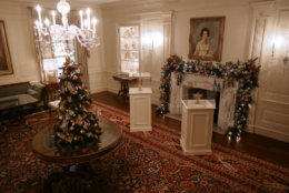 WASHINGTON, DC - NOVEMBER 26: The Vermeil Room is decorated for the holidays at the White House November 26, 2018 in Washington, DC. The 2018 theme of the White House holiday decorations is 'American Treasures,' and features patriotic displays highlighting the country's 'unique heritage.' The White House expects to host 100 open houses and more than 30,000 guests who will tour the topiary trees, architectural models of major U.S. cities, the Gold Star family tree and national monuments in gingerbread. (Photo by Chip Somodevilla/Getty Images)