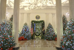 "The White House on Monday released a video showing first lady Melania Trump decorating the Executive Mansion for the holidays. The theme of this year's decorations is ""American Treasures: Christmas at the White House."" (Courtesy White House)"