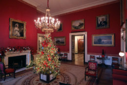 WASHINGTON, DC - NOVEMBER 26: Carrying first lady Melania Trump's 'Be Best' initiative, the Red Room is decorated to 'celebrate children through the décor, which displays ways in which children can excel in their own path' at the White House November 26, 2018 in Washington, DC. The 2018 theme of the White House holiday decorations is 'American Treasures,' and features patriotic displays highlighting the country's 'unique heritage.' The White House expects to host 100 open houses and more than 30,000 guests who will tour the topiary trees, architectural models of major U.S. cities, the Gold Star family tree and national monuments in gingerbread. (Photo by Chip Somodevilla/Getty Images)