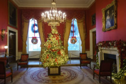 The Red Room, with the theme to celebrate America's Children, is seen during the 2018 Christmas preview at the White House in Washington, Monday, Nov. 26, 2018.  (AP Photo/Carolyn Kaster)