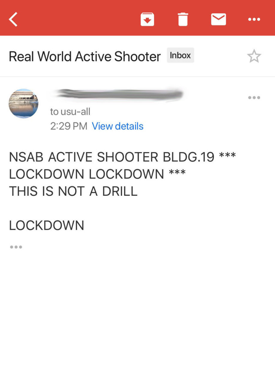 "Screenshot of an email received by a Walter Reed employee. The email refers to a ""Real World Active Shooter"" and contains words: ""THIS IS NOT A DRILL."" Officials later said it was an ad hoc drill."