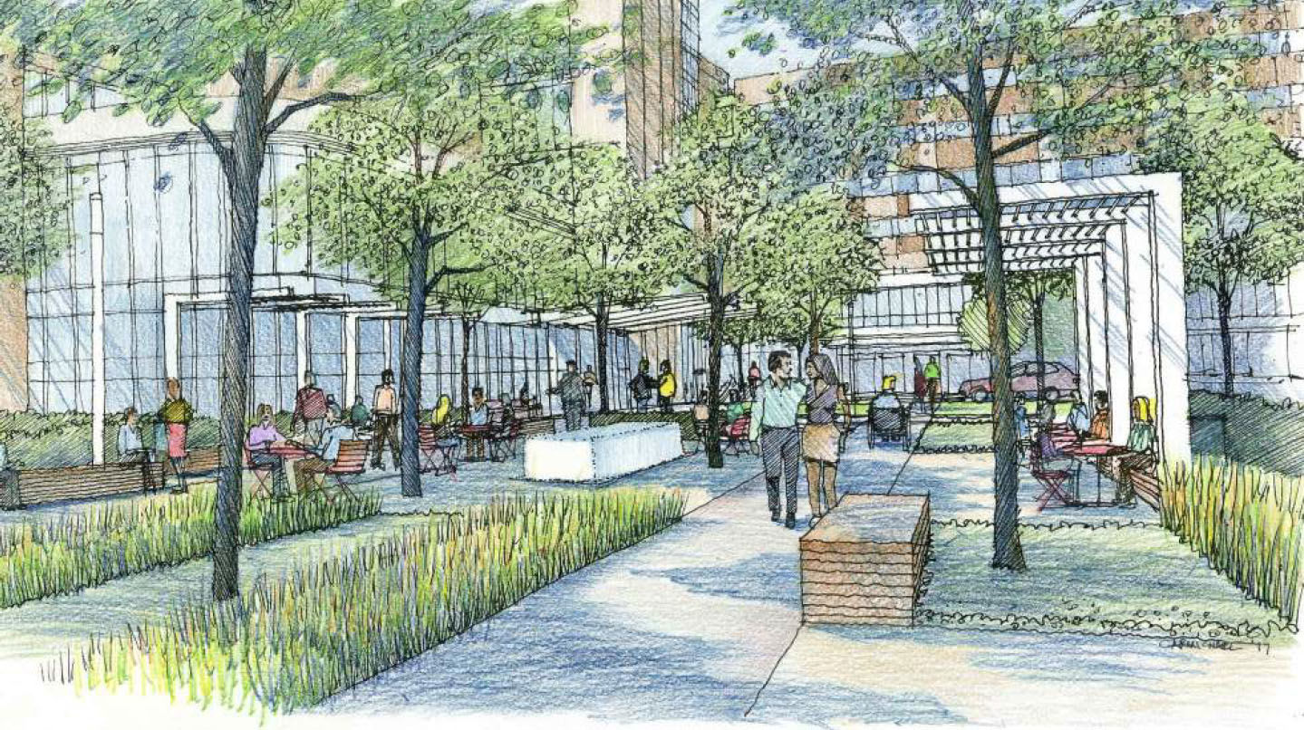 The planned entry plaza in the Virginia Hospital Center expansion. (Courtesy Virginia Hospital Center)