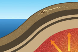 Starting about 45,000 years ago, heat flow within Earth's mantle caused the crust to bulge in a process called dynamic uplift. Here along Angola's coast, the bulge lifted the ocean floor hundreds of feet out of the water. (Karen Carr Studios, Inc.)