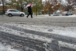 Snow is turning to slush and creating icy conditions in D.C. (WTOP/Will Vitka)