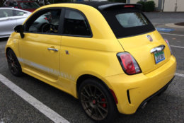The Fiat 500 Abarth is an inexpensive, sporty, micro commuter that also fits in on the track. (WTOP/Mike Parris)