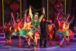 """David Schlumpf as Buddy and the ensemble of """"Elf: The Musical,"""" at Olney Theatre Center. (Olney Theatre Center/Stan Barouh)"""