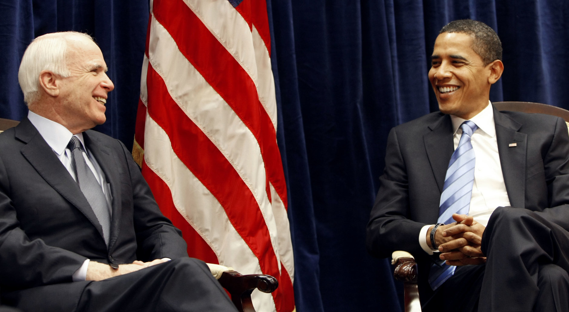 President-elect Barack Obama and Sen John McCain, R-Ariz. smile during their meeting at Obama's transition office in downtown Chicago, Monday, Nov. 17, 2008. (AP Photo/Pablo Martinez Monsivais)