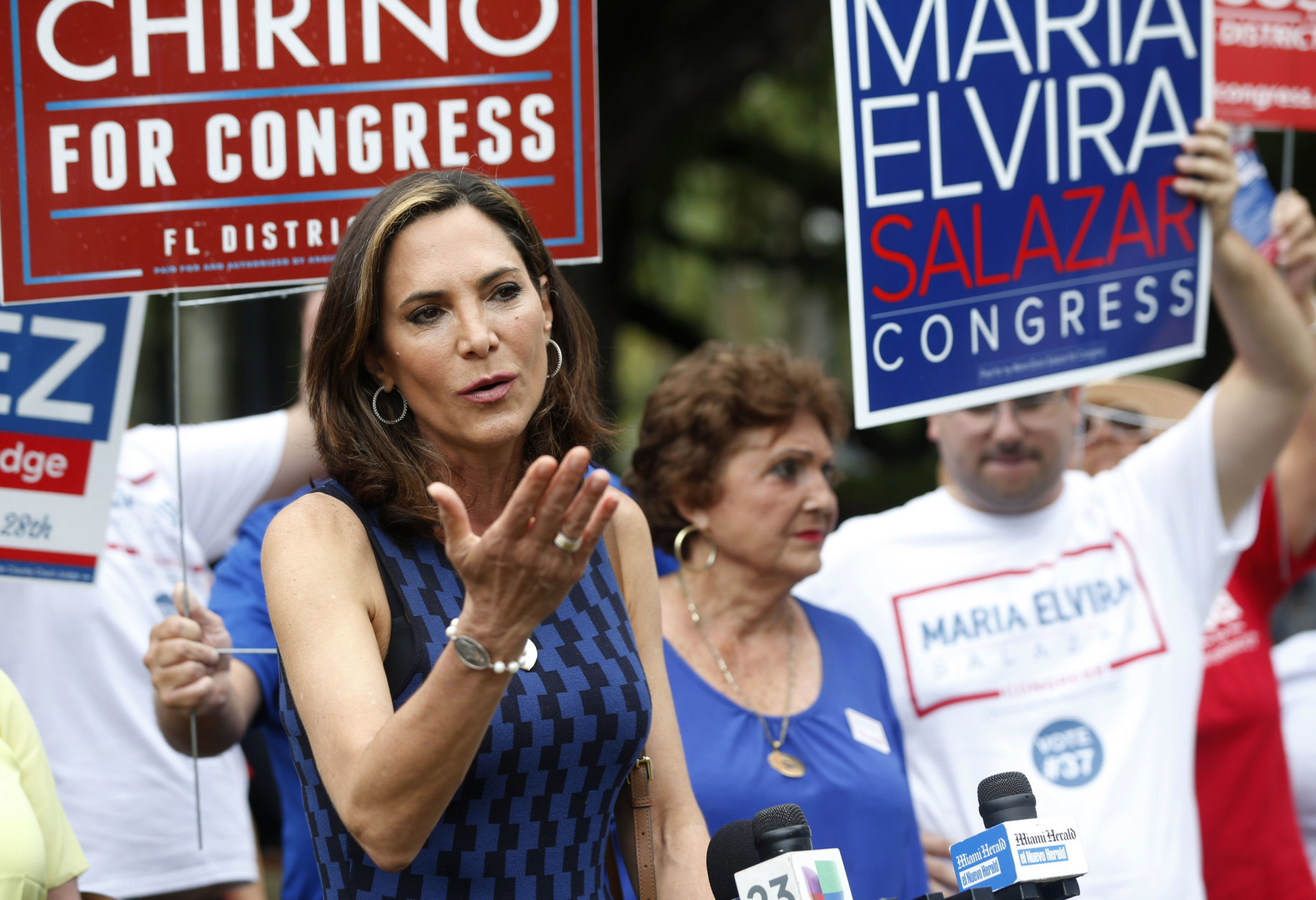 FILE - In this Aug. 28, 2018, file photo, Maria Elvira Salazar speaks at a campaign event in Coral Gables, Fla. Salazar is running against former Clinton administration Cabinet member and University of Miami president, Democrat Donna Shalala. (AP Photo/Wilfredo Lee, File)