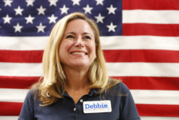 FILE - This Oct. 17, 2018, file photo shows Florida Democratic congressional candidate Debbie Mucarsel-Powell at a campaign event in Coral Gables, Fla. Mucarsel-Powell is running against incumbent Republican U.S. Rep. Carlos Curbelo in Florida's 26th Congressional District. (AP Photo/Wilfredo Lee, File)