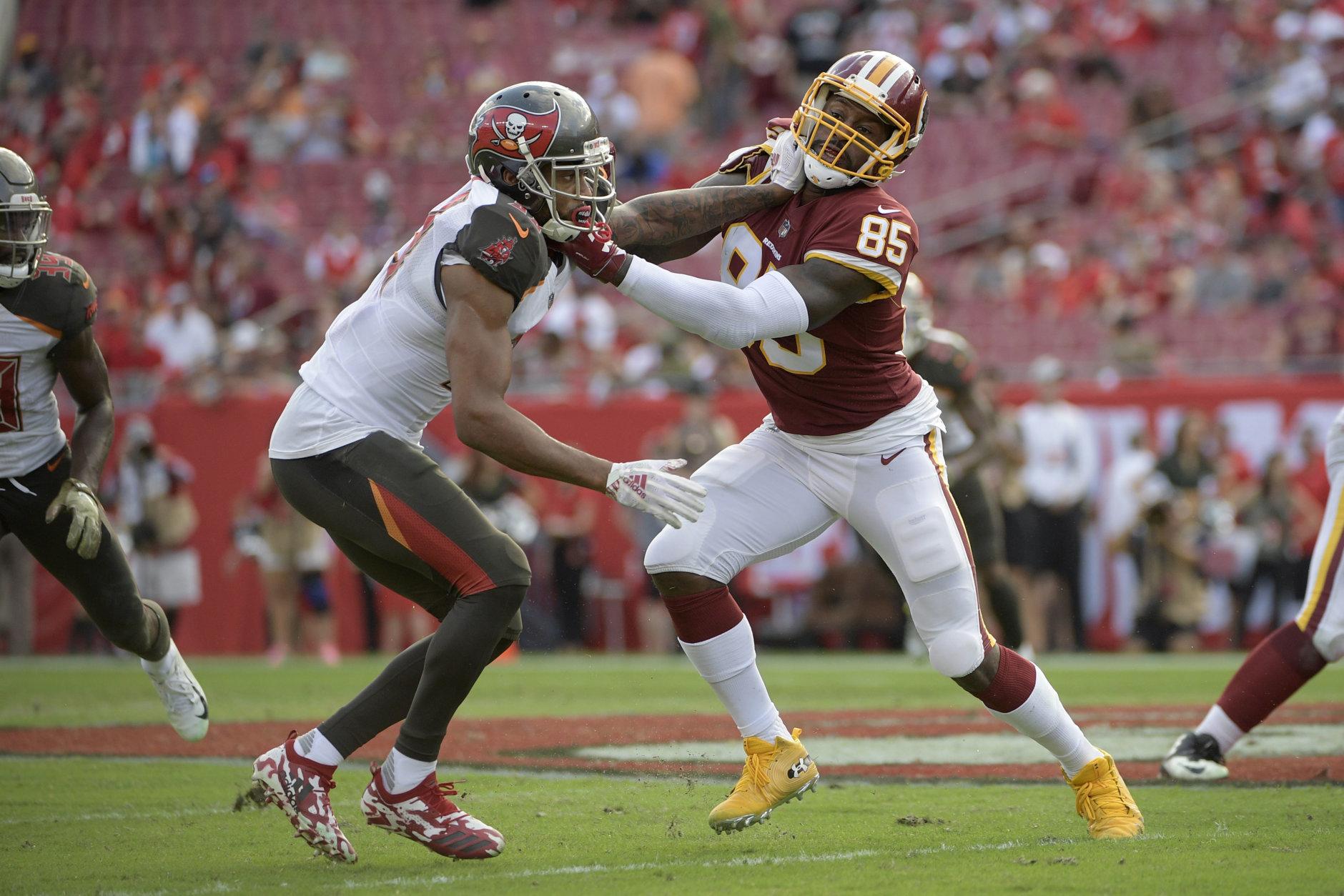 Washington Redskins tight end Jordan Reed (86) blocks against Tampa Bay Buccaneers cornerback Carlton Davis (33) during the second half of an NFL football game Sunday, Nov. 11, 2018, in Tampa, Fla. (AP Photo/Phelan M. Ebenhack)