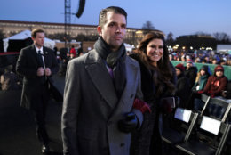 Donald Trump Jr. and Kimberly Guilfoyle arrive ahead of President Donald Trump and first lady Melania Trump for the lighting of the National Christmas Tree lighting ceremony at the Ellipse near the White House in Washington, Wednesday, Nov. 28, 2018. (AP Photo/Andrew Harnik)