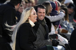 Donald Trump Jr. and Tiffany Trump arrive before President Donald Trump and first lady Melania Trump light the National Christmas Tree on the Ellipse near the White House in Washington, Wednesday, Nov. 28, 2018. (AP Photo/Andrew Harnik)